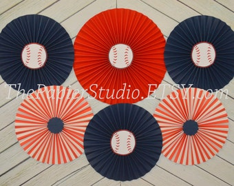 Vintage Baseball Inspired, Navy and Red Set of 6 (SIX) Rosettes