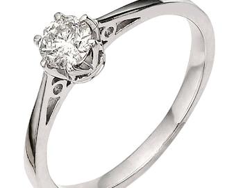 1/3 carat crown setting diamond engagement ring
