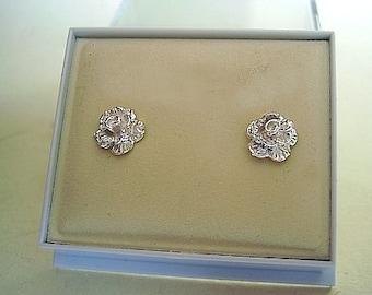 Rose Stud Earrings in sterlin silver One Pair