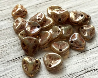Rose Petal Beads- Czech glass petal beads champagne picasso 8x7mm pack of 20