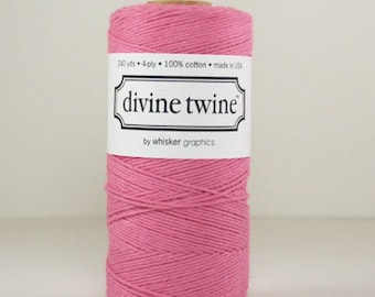 1 Spool Solid Colored Deep Pink Divine Twine, 240 yards / 219 m. Bakers Twine, Wedding diy, Divine Twine