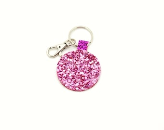 Light Pink Hot Pink and Red  Glitter Fabric Round Circle Key Ring Key Chain Clutch Hand Bag Charm Birthday Gift Idea