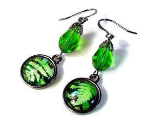 Emerald Green Dangle Earrings, Fern Earrings, Leaf, Leaves, Nature Lovers Gift, Handmade Artisan, Fern Jewelry, Woodland, Forest