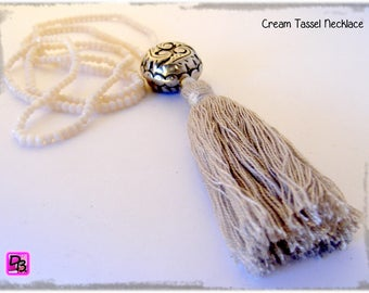Abacus Czech crystal tassel necklace unique designer DollyDoo gift Christmas anniversary gift necklace cream tassel necklace delivered before Christmas