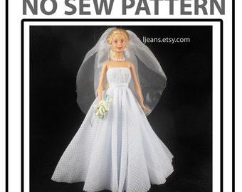 No Sew 11 in Barbie Doll Wedding Dress Pattern