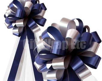 """Navy and Silver Wedding Pew Pull Bows with Tulle Tails Decorations - 8"""" Wide, Set of 6"""