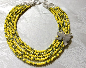 Yellow bead necklace, high end jewelry, jewelry for laughs, animal necklace, frog necklace, 5 strand necklace