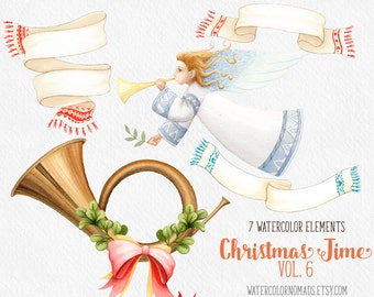 Christmas Angel clipart, winter clipart, digital clipart, Music Tube clipart, Scarf clipart, holiday clipart, watercolor banner