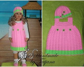 Pink dress with cap, crochet, Gr. 74-98