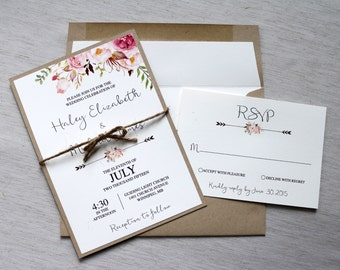 rustic vintage wedding invitations