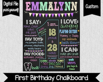 Girl First Birthday Chalkboard - About Me Sign - Digital - Colorful First Birthday - Pastel - One Year Old Chalkboard Sign - First Birthday