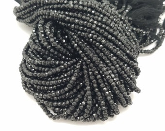 4mm Black Spinel Faceted , 13.5 inches