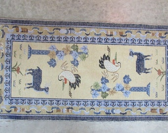 Asian Antique Wool Rug Fine Beautiful Animal Woven clouds birds design Patterns