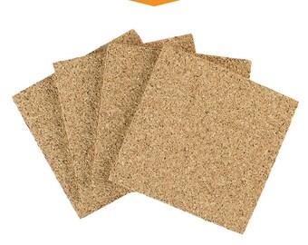 "Square Cork Coasters - 3.5"" x 3.5"", 1/4"" Thick, 100% Natural Cork, 4 Coaster Pack, Natural Fine Grain Cork Coasters"