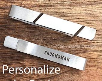 Groomsman Tie Clip Groomsman Tie Bar Groomsman Gift Monogram Tie Clip Gift for Groomsman Tie Clip Engraved Tie Clip Wedding Party Tie Clip