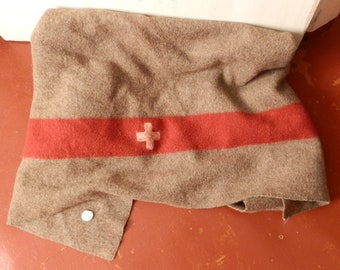 Vintage original Swiss Army Wool Blanket, Authentic Swiss military wool blanket, 1937's