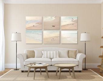 Coastal Wall Decor SET of SIX Prints or Canvases, Bird Photography, Beach  Art,