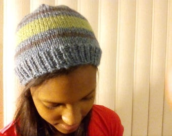 stripped teal hat