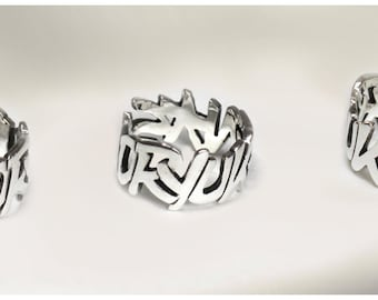"""Phrase and word"" ring in 925 Silver"