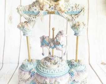 Carousel Music Box, Carousel and Angels, Love Makes the World Go Round, Angels Music Box, Shabby Chic Music Box, Roses and Angels, Music Box