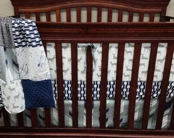 Baby Boy Crib Bedding - White Gray Deer, Fletching Arrow, Navy Tomahawk, Be Brave, Navy Minky, and Gray Minky Crib Baby Bedding Ensemble