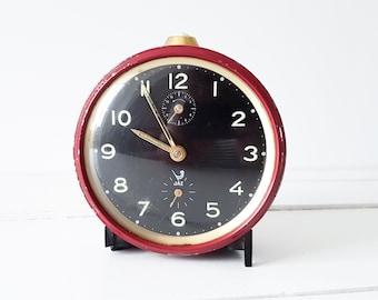 Vintage alarm clock bordeaux red 'Jaz' * old alarm clock * collectible alarm clock * Jaz * retro clock