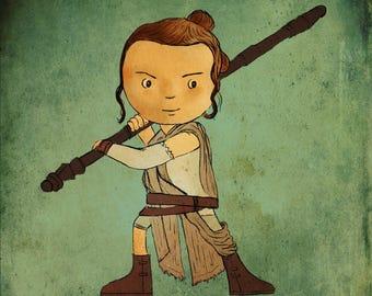 Cute Rey illustration - giclee print