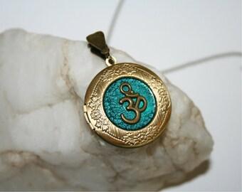 Bronze Locket Necklace with OM symbol  - Wedding Birthday Bridesmaids Gift-Locket Personalized Jewelry Family Locket