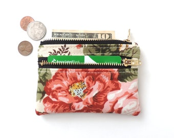 Floral Coin Purse Slim Double Zipper Wallet Pouch