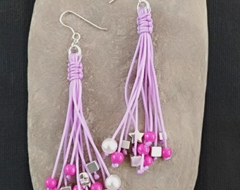 Long Earrings with charms / lilac color / peαrls / beads / earwires / summer jewelry