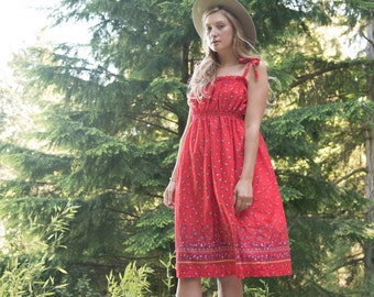 70's Summer Dress, Red Tie Shoulder Dress, Smocked Lolita Sun Dress, Red Calico Floral Dress, Vintage 70's Prairie Dress, Medium Large