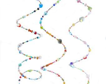 Rainbow Spiral Sun Catcher Wind Spinner - Bell Windchimes - Glass Bead Wind Chime - Hanging Garden Decor - Glass Beaded Suncatcher