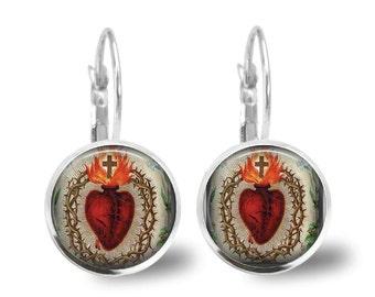 Sacred Heart Glass Tile Earrings Catholic Devotional Leverback  Catholic Earrings 18 mm