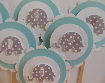 Elephant Cupcake Toppers - Blue and White with Gray Polka Dot Elephants - Boy Birthday Decorations - Boy Baby Shower Decorations - Set of 6