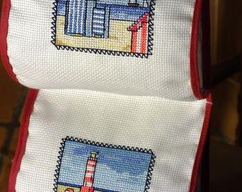 WORN toilet TISSUE rolls embroidered PT cross: seaside No. 2