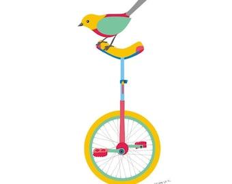 Nursery art print - Unicycle - Circus Nursery Decor, Bird On A Unicycle, Digital art, Children Giclee Art Print, Baby decor,  Kids Wall Art