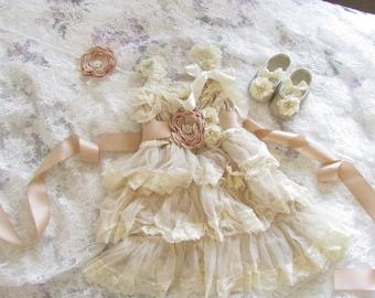 4 pcs Champagne dress/Ivory girl dress, rustic flower girl dress, country girl dress,Beach wedding Baby dress