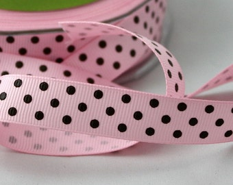 "Pink & Brown Polka Dot Ribbon, 5/8"" wide Ribbon by the yard, Sewing, Gift Wrapping, Baby Girl, Crafts, Party Supplies, Grosgrain Ribbon"