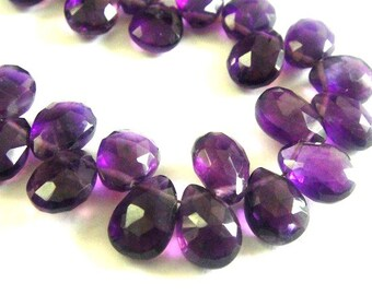Amethyst Pear Briolette,  Faceted Amethyst, 1 MATCHED PAIRS,  High Quality, Brides, Feburary Birthstone, 9x6mm-10x7mm