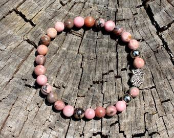 Rhodonite Bracelet - Silver Owl Bracelet - Stretch Bracelet - Pink Gemstone Bracelet - Rescue Stone -  Natural Stone - Two Feathers Jewelry
