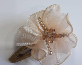 Hair clip adorned with ivory satin, amber Swarovski crystal flower, ivory