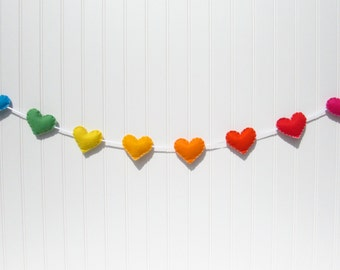 Rainbow heart banner / garland / bunting - Nursery decoration