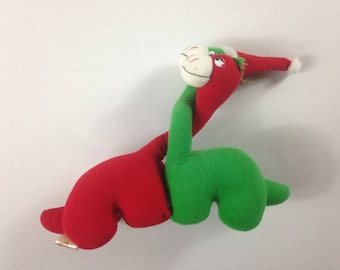 """Applause Dinosaurs Plush 1987 Small 6"""" Toy Stuffed Red Green Dyno Love 80s"""