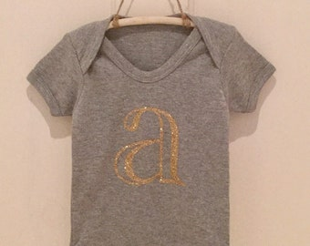 Personalised letter/initial baby grow/body suit. Various sizes available