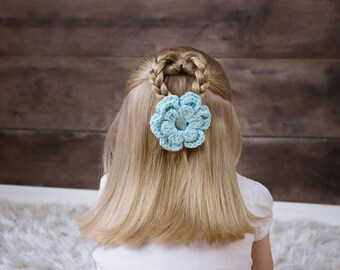 Aqua Blue Hair Clip Aqua Hair Clip Aqua Crochet Flower Hair Clip Flower Barrette Baby Girl Hair Clip Toddler Girl Spring Hair Clip Summer