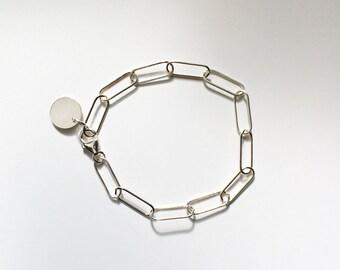 modern chain link bracelet - silver