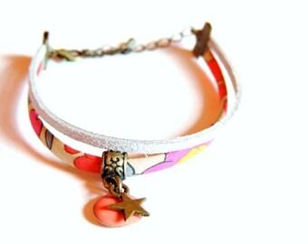 Bracelet - Double Je (Liberty Betsy Fluo-thé)