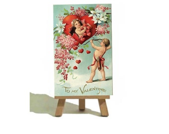 Beautiful Vintage Cherub - Valentines Miniature Canvas and Easel Set. - The Perfect Gift !!!