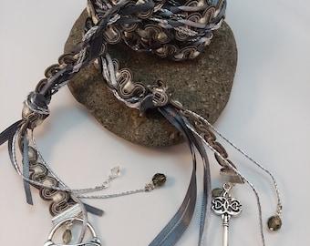Wedding Handfasting Cord - Gray Silver Key To My Heart