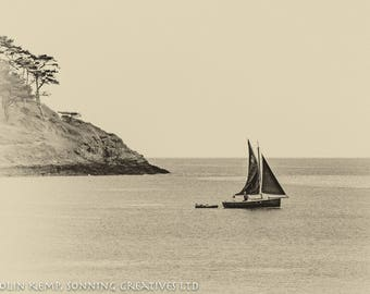 Traditional sailing boat, vintage appearance black and white photo, maritime art, in various sizes, Cornish coast